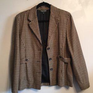 Ellen Figg Plaid houndstooth Dress jacket 10